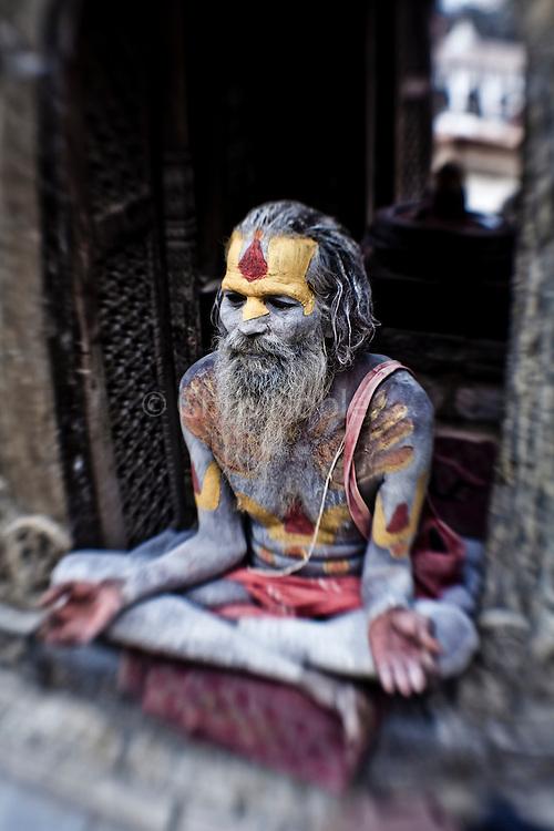 A Hindu holy man called a sadhu at Kathmandu's Pashupatinath Temple.