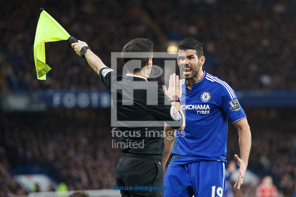 Diego Costa of Chelsea screams at the linesman during the Barclays Premier League match at Stamford Bridge, London<br /> Picture by Alan Stanford/Focus Images Ltd +44 7915 056117<br /> 07/02/2016