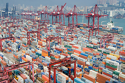 Busy container terminal No.9 in Kwai Chung Hong Kong