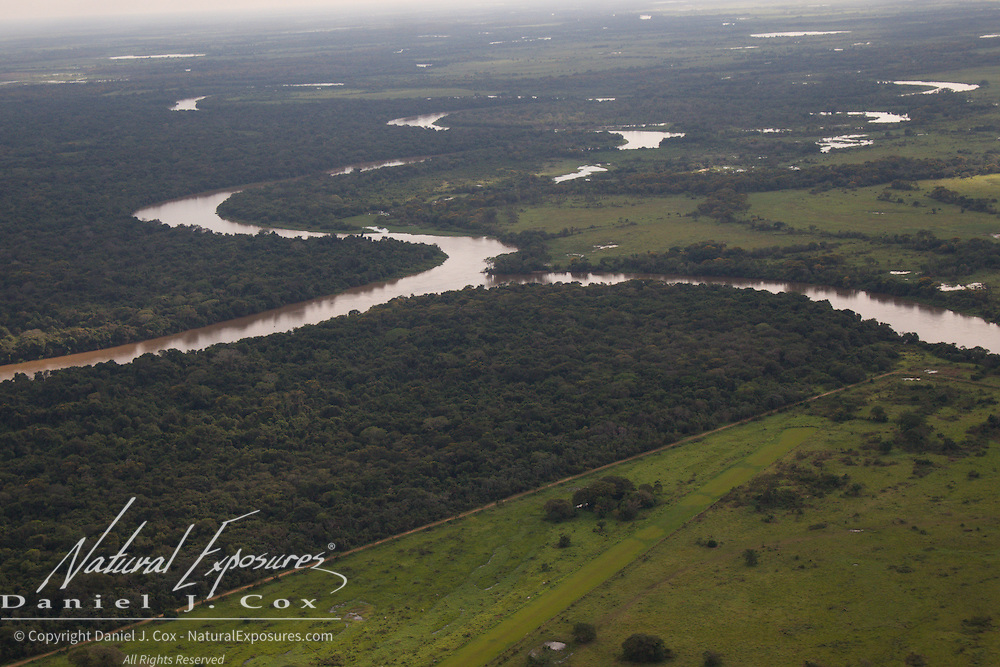 Ranch land on the edge of the wilderness of the Pantanal, Brazil