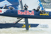 Red Bull Sailing Team. Day four of the Extreme Sailing Series regatta being sailed in Singapore. 23/2/2014