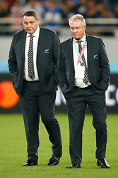 Steve Hansen All Blacks Head Coach of New Zealand (All Blacks) with Grant Fox during the Bronze Final match between New Zealand and Wales Mandatory by-line: Steve Haag Sports/JMPUK - 01/11/2019 - RUGBY - Tokyo Stadium - Tokyo, Japan - New Zealand v Wales - Bronze Final - Rugby World Cup Japan 2019