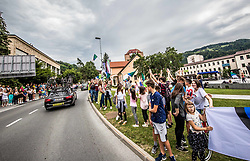 Supporters of Primoz Roglic of Team Lotto NL Jumbo in Zagorje during 3rd Stage of 25th Tour de Slovenie 2018 cycling race between Slovenske Konjice and Celje (175,7 km), on June 15, 2018 in  Slovenia. Photo by Vid Ponikvar / Sportida