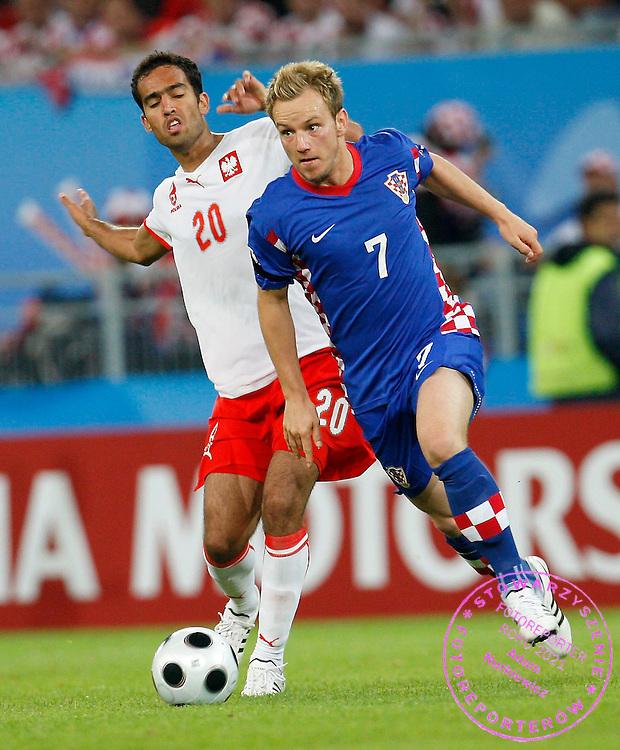 KLAGENFURT 16/06/2008.Euro 2008 - Group B.CROATIA v POLAND.IVAN RAKITIC OF CROATIA AND ROGER GUERREIRO OF POLAND ..*****************.FOT. PIOTR HAWALEJ / WROFOTO