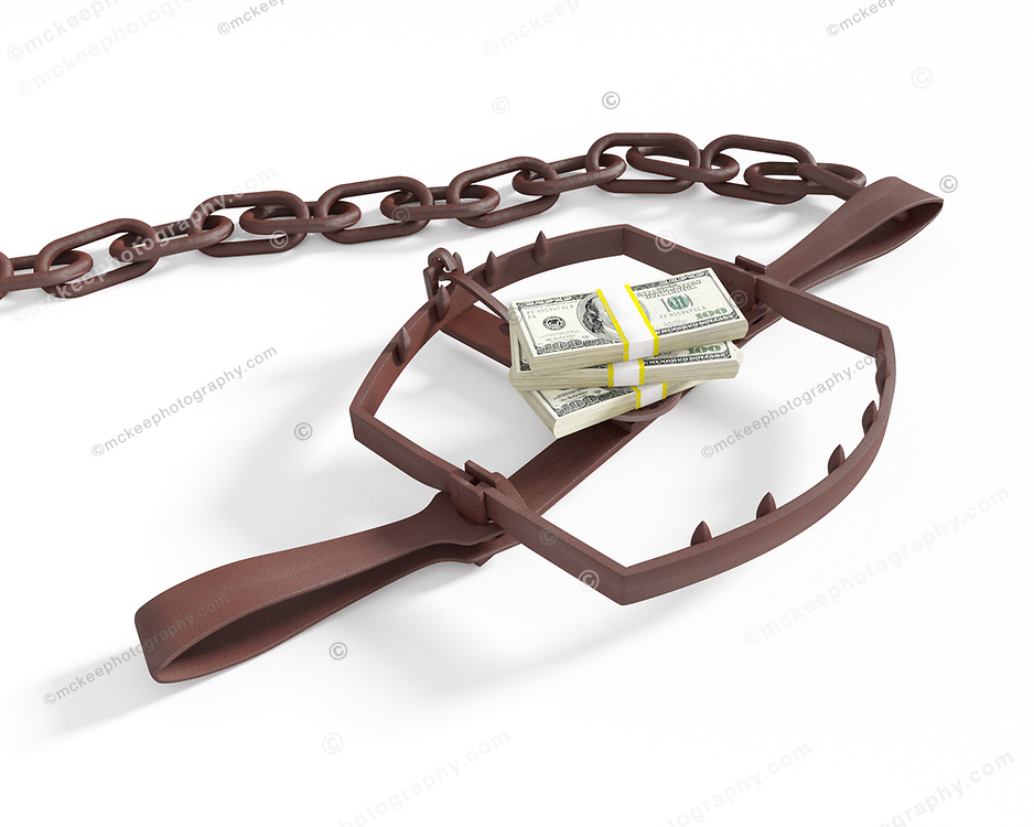 The Money Trap on white background. A pile of cash sitting on the trigger of a bear trap, waiting for the unwary consumer to reach for the currency.