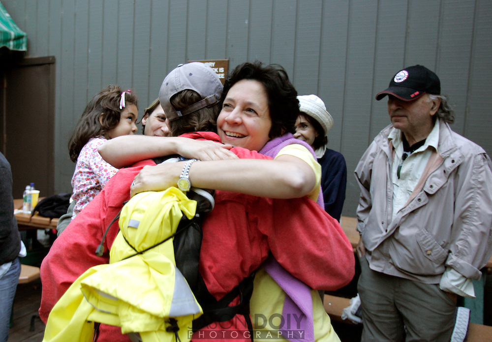 Mofo's Angela Padilla hugs Deb Mosley after returning from a 20 mile, 12 hour climb to the top of Half Dome on September 10. The climb raised money for five local breast cancer organizations...photo by Jason Doiy.9-15-05.037-2005