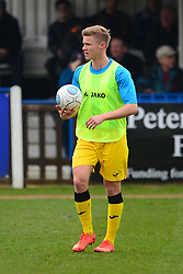 BRACKLEY TOWN GARETH DEAN WARM UP BEFORE KICK OFF, Wealdstone FC v Brackley Town Buildbase FA Trophy Semi Final 2nd Leg, Saturday 24th March 2018, Score 0-2 (Byrne, Williams,) <br /> Photo:Mike Capps
