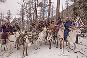 Tsaatan reindeer herders, Dhuka people, winter camp, Hunkher mountains, northern Mongolia