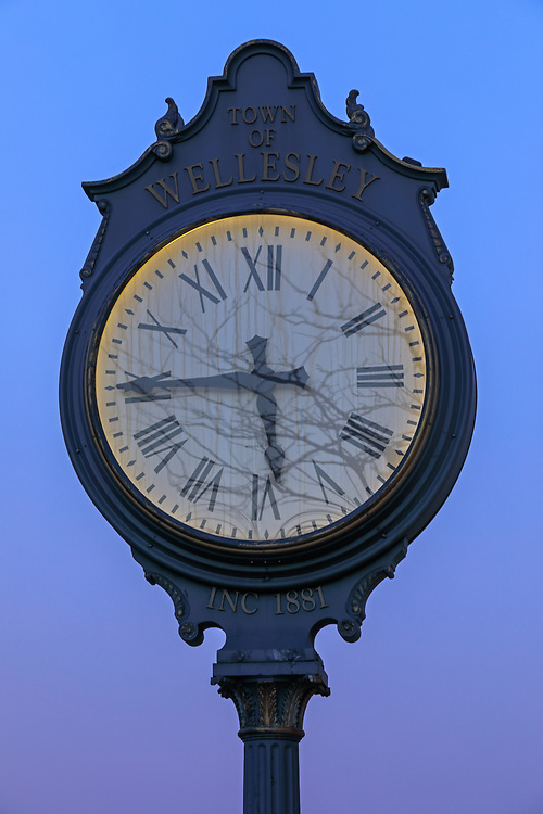 This Greater Boston area photography image showcases the Wellesley Square Clock on Central Street in Wellesley Village, Massachusetts. Wellesley is part of the Metro West region of Massachusetts and is only a few miles west of Boston. <br />