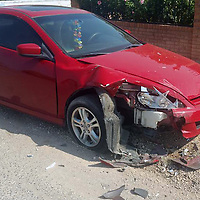 Grants Police are looking for the driver of a vehicle that hit this red Honda Thursday morning to the 600 block of East High Street in Grants.
