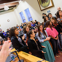 032415  Adron Gardner/Independent<br /> <br /> Gallup lady Bengal varsity basketball players receive an ovation as Mayor Jackie McKinney presents commendation for their performance at the 2015 New Mexico High School State basketball finals at city hall in Gallup Tuesday.