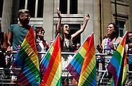A women cheers, as she attends the annual Gay Pride parade in London, Britain, 29 June 2013. BOGDAN MARAN / BPA