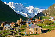 Fortified village of Ushguli, Svanetia, UNESCO World Heritage Site, in background Mount Shkhara, Georgia, Caucasus