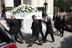© Licensed to London News Pictures. 22/05/2018. London, UK. The funeral of television presenter Dale Winton at Commonwealth Church in Marylebone, London. Dale Winton, who was found dead at his home on April 18, was famous for presenting Supermarket Sweep and National Lottery game show. Photo credit: Peter Macdiarmid/LNP