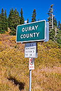 Ouray County sign at Red Mountain Pass, San Juan Skyway (Highway 550), Uncompahgre National Forest, Colorado