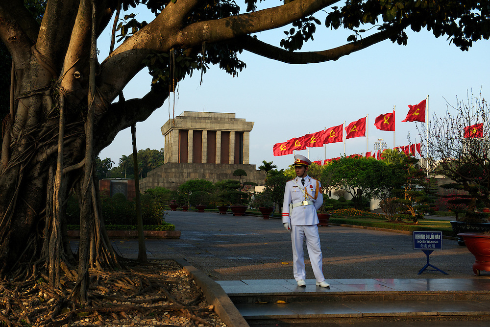 Military guards stand on duty at the Ho Chi Minh Mausoleum 24hrs a day, 7 days a week.