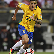 FOXBOROUGH, MASSACHUSETTS - JUNE 12:  Philippe Coutinho #22 of Brazil in action during the Brazil Vs Peru Group B match of the Copa America Centenario USA 2016 Tournament at Gillette Stadium on June 12, 2016 in Foxborough, Massachusetts. (Photo by Tim Clayton/Corbis via Getty Images)