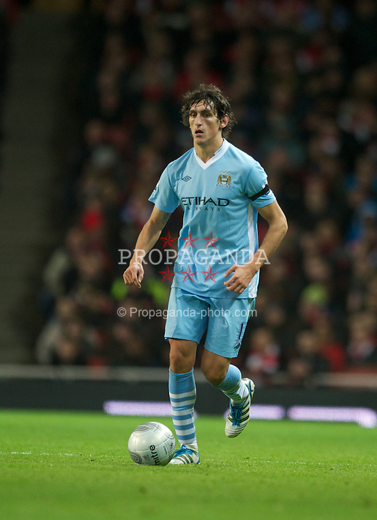 LONDON, ENGLAND - Tuesday, November 29, 2011: Manchester City's Stefan Savic in action during the Football League Cup Quarter-Final match at the Emirates Stadium. (Pic by Chris Brunskill/Propaganda)