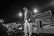 Aug. 21. 2015 Mobile, AL, Republican presidential candidate and business mogul Donald Trump leaves the stage at his campaign pep rally in Ladd Peebles Stadium. Over 20 thousand came to the Ladd-Peebles Stadium to attend Trumps campaign pep rally. People were asked not to bring signs.