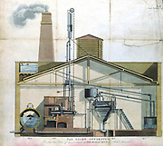 Gas lighting apparatus at Royal Mint, London.   l: Retort. 2: Purifier. 3: Tar cistern. 4: Gas meter. From Frederick Accum 'Coal Gas', London, 1819. Aquatint.