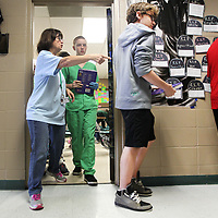 Adam Robison | BUY AT PHOTOS.DJOURNAL.COM<br /> Peggy Gray, a language arts teacher at Mooreville Middle School, directs her students into the hallway as the bell rings for the tornado drill at the school Wednesday morning in Mooreville.