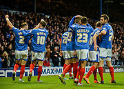 Portsmouth players celebrate the 2nd goal during the Sky Bet League 2 match between Portsmouth and Hartlepool United at Fratton Park, Portsmouth, England on 12 December 2015. Photo by Adam Rivers.