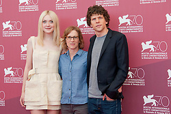 31.08.2013, Canal Grande, Venedig, ITA, La Biennale, 70. Filmfestspiele von Venedig, Night moves, im Bild Dakota Fanning, director Kelly Reichardt and Jesse Einsenberg // during a photocall for the movie 'Night moves' of the 70th Venice International Film Festival at Canal Grande in Venice, Italy on 2013/08/31. EXPA Pictures © 2013, PhotoCredit: EXPA/ Newspix/ Daziram<br /> <br /> ***** ATTENTION - for AUT, SLO, CRO, SRB, BIH, TUR, SUI and SWE only *****