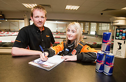 Red Bull Kart Fight promo at Xtreme Karting, Newbridge. Christie Doran's Ginetta Racing challenge. Pic with Scott Henderson..©Pic : Michael Schofield.