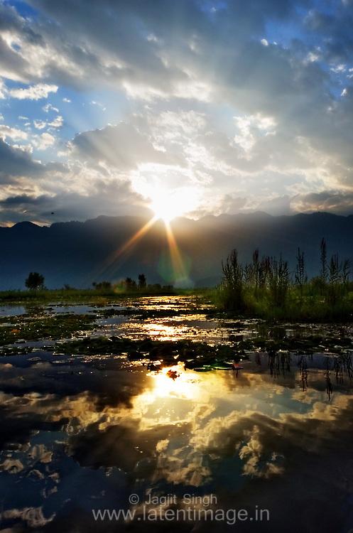 Beautiful Sunrise in Dal lake Srinagar, Kashmir, India.