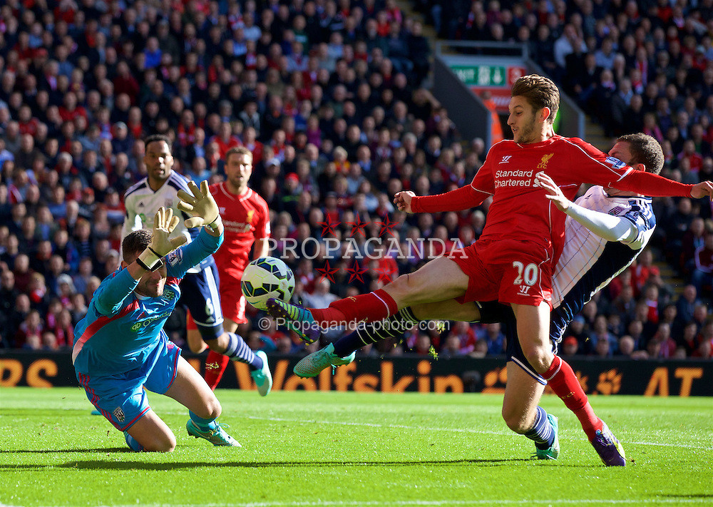 LIVERPOOL, ENGLAND - Saturday, October 4, 2014: Liverpool's Adam Lallana sees his shot saved by West Bromwich Albion's goalkeeper Ben Foster during the Premier League match at Anfield. (Pic by David Rawcliffe/Propaganda)