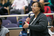 Patricia Atkins speaks during a town hall discussion held as part of University of Rochester President Joel Seligman's Presidential Commission on Race and Diversity in Rochester on Monday, January 18, 2016.