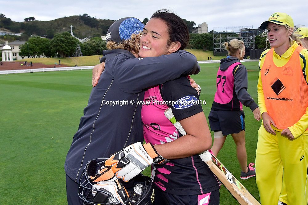 White Ferns head coach Haidee Tiffen (L) hugs Thamsyn Newton (R after their win during the 2nd Women's T20 International - New Zealand v Australia cricket match at the Basin Reserve in Wellington on Tuesday the 1st of March 2016. Copyright Photo by Marty Melville / www.Photosport.nz