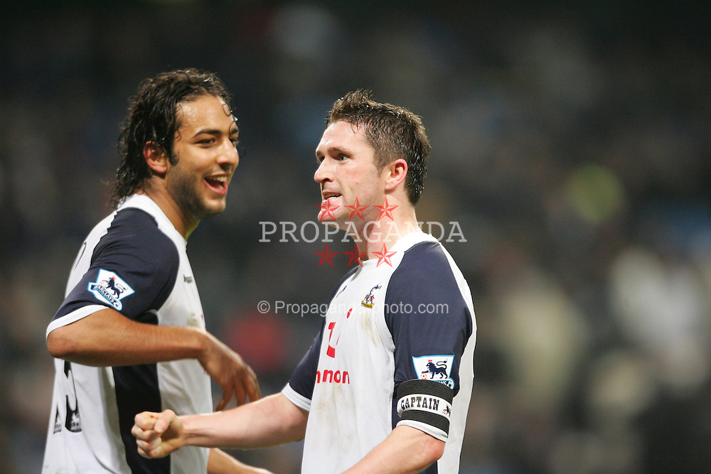 MANCHESTER, ENGLAND - WEDNESDAY, JANUARY 4th, 2006: Tottenham Hotspur's Robbie Keane celebrates scoring the second goal against  Manchester City with his team-mate Mido during the Premiership match at the City of Manchester Stadium. (Pic by David Rawcliffe/Propaganda)