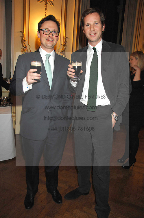 Left to right, VISCOUNT DUNLUCE and GAWAIN RAINEY at a party to celebrate the publication of 'Arthur's Road' a biography of Arthur Guinness written by Patrick Guinness held at the Irish Embassy, London on 6th March 2008.<br />