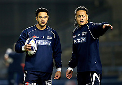 Denny Solomona of Sale Sharks talks to TJ Ioane as he prepares to make his debut after his controversial move and switching of codes from Castleford Tigers - Mandatory by-line: Robbie Stephenson/JMP - 18/12/2016 - RUGBY - AJ Bell Stadium - Sale, England - Sale Sharks v Saracens - European Champions Cup