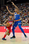 Washington Wizards Bradley Beal (3) and New York Knicks Frank Ntilikina (11)  during the NBA London Game match between Washington Wizards and New York Knicks at the O2 Arena, London, United Kingdom on 17 January 2019.