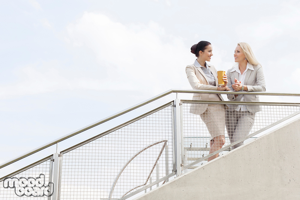 Low angle view of young businesswomen talking while standing by railing against sky