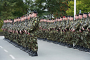 Inspecting the troops  at a ceremony at the Cathedral in Galway before deployment to the Golan Heights in Syria. Photo:Andrew Downes, XPOSURE