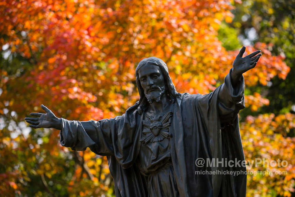 SOUTH BEND, IN - OCTOBER 15: General view of the Sacred Heart statue on the Notre Dame campus seen before the game against the Stanford Cardinal at Notre Dame Stadium on October 15, 2016 in South Bend, Indiana. Stanford defeated Notre Dame 17-10. (Photo by Michael Hickey/Getty Images)