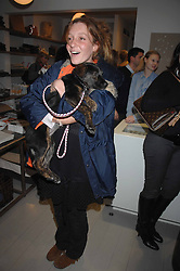 KATE GOLDSMITH and her dog Maggie at a book signing of Lady Annabel Goldsmith's book 'Copper: A Dog's Life' held at Mungo & Maud, 79 Elizabeth Street, London SW1 on 20th February 2007.<br /><br />NON EXCLUSIVE - WORLD RIGHTS