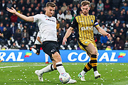 Derby County forward Chris Martin on the attack during the EFL Sky Bet Championship match between Derby County and Sheffield Wednesday at Pride Park Stadium, Derby, England on 21 October 2017. Photo by Aaron  Lupton.