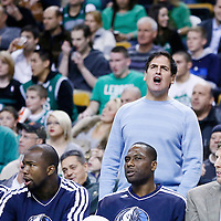 12 December 2012: Owner of the National Basketball Association's Dallas Mavericks Mark Cuban reacts during the Boston Celtics 117-115 2 overtimes victory over the Dallas Mavericks at the TD Garden, Boston, Massachusetts, USA.