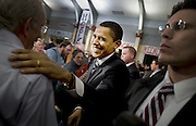 Barack Obama speaks at the Keene High School's school two days before the primary election in Iowa on Jan 8 2008. He talked about hope and about the other candidates criticized him for talking too much about hope.<br /> Photo Ola Torkelsson &copy;