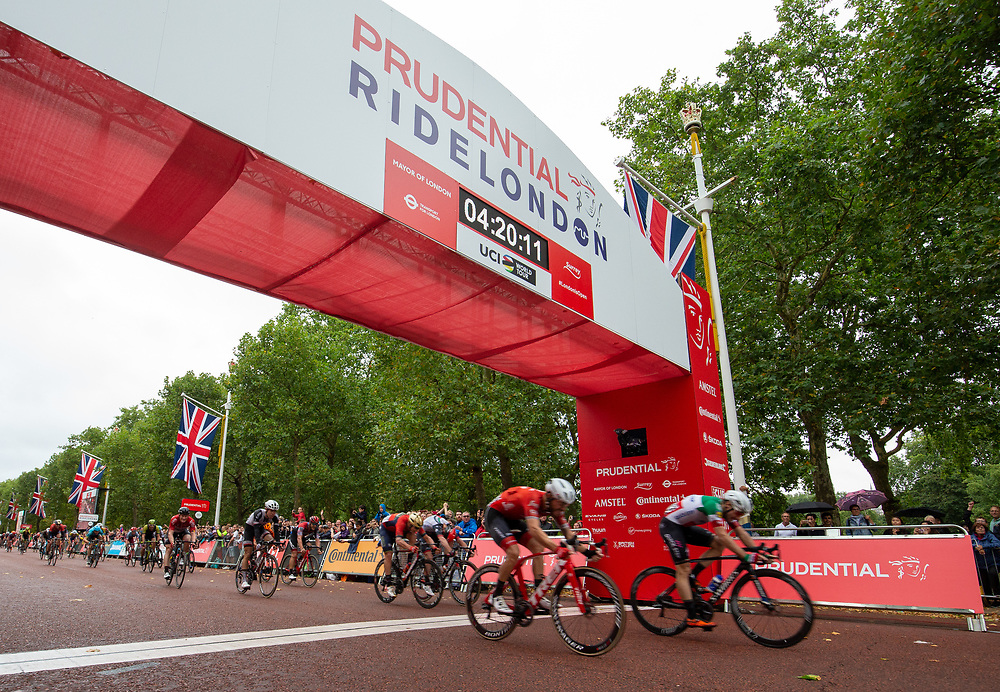 Elia VIVIANI (ITA) QUICK-STEP FLOORS crosses the line to come second in The Prudential RideLondon Classic. Sunday 29th July 2018<br /> <br /> Photo: Andrew Baker for Prudential RideLondon<br /> <br /> Prudential RideLondon is the world's greatest festival of cycling, involving 100,000+ cyclists - from Olympic champions to a free family fun ride - riding in events over closed roads in London and Surrey over the weekend of 28th and 29th July 2018<br /> <br /> See www.PrudentialRideLondon.co.uk for more.<br /> <br /> For further information: media@londonmarathonevents.co.uk