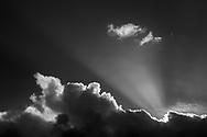 Crepuscular rays above cumulus cloud