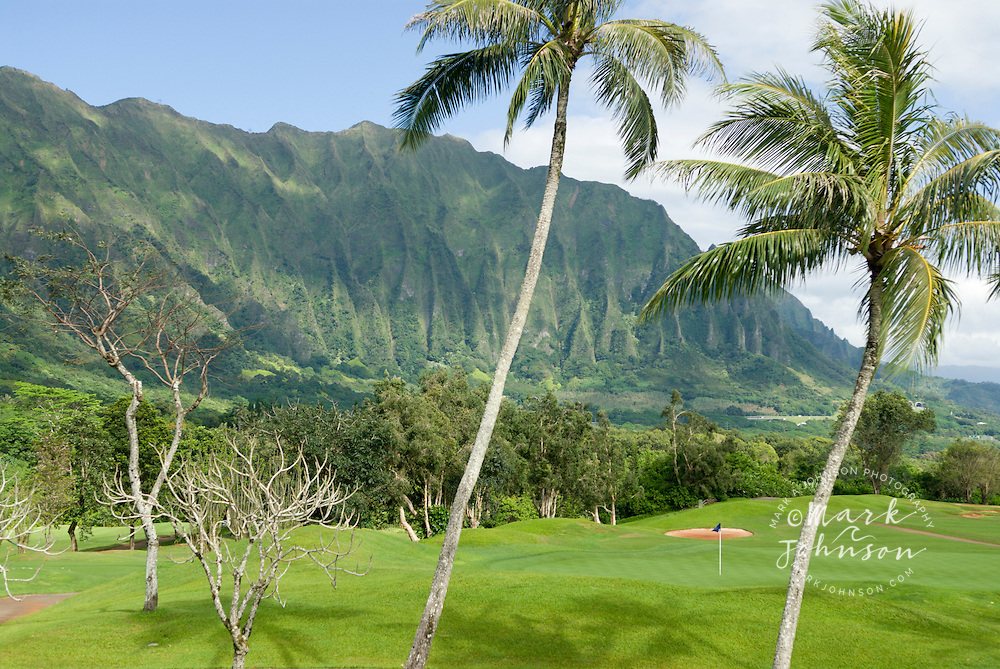 Koolau Golf Course and the Koolau Mountains, Oahu, Hawaii