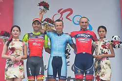 September 24, 2017 - Zhuhai, Guangdong, China - (Left-Right) Rafael Andriato (Wilier Triestina - Selle Italia), Maris Bogdanovics (Rietumu Banka Riga) and Siarhei Papok (Minsk Cycling Club) - the Podium of the fifth and final stage of the 2017 Tour of China 2, the 91.2km Zhuhai Hengqin Circuit Race. .On Sunday, 24 September 2017, in Hengqin district, Zhuhai City, Guangdong Province, China. (Credit Image: © Artur Widak/NurPhoto via ZUMA Press)