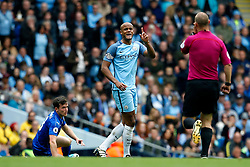 Vincent Kompany of Manchester City reacts after fouling Ben Chilwell of Leicester City - Mandatory by-line: Matt McNulty/JMP - 13/05/2017 - FOOTBALL - Etihad Stadium - Manchester, England - Manchester City v Leicester City - Premier League