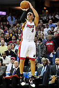 Dec. 2, 2010; Cleveland, OH, USA;  Miami Heat point guard Carlos Arroyo (8) shoots a jump shot during the first quarter of the game against the Cleveland Cavaliers at Quicken Loans Arena. Mandatory Credit: Jason Miller-US PRESSWIRE