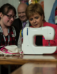 Scottish National Party leader, Nicola Sturgeon, joins Council candidates in Edinburgh to launch the SNP's manifesto for the 2017 Local Government election.<br /> Pictured: First Minister, Nicola Sturgeon with Sarah Lomax, who uses the WHALE Community Arts Centre